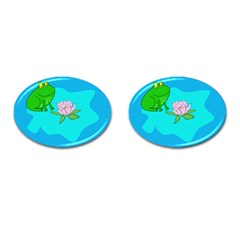 Frog Flower Lilypad Lily Pad Water Cufflinks (oval) by Nexatart
