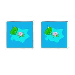 Frog Flower Lilypad Lily Pad Water Cufflinks (square)
