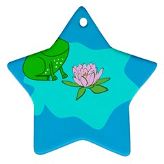 Frog Flower Lilypad Lily Pad Water Star Ornament (two Sides) by Nexatart