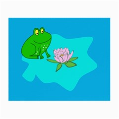 Frog Flower Lilypad Lily Pad Water Small Glasses Cloth (2 Side) by Nexatart
