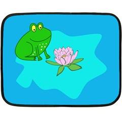 Frog Flower Lilypad Lily Pad Water Double Sided Fleece Blanket (mini)