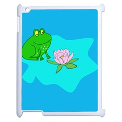 Frog Flower Lilypad Lily Pad Water Apple Ipad 2 Case (white) by Nexatart