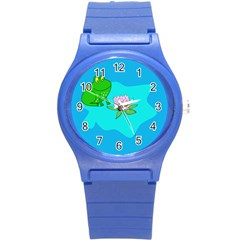 Frog Flower Lilypad Lily Pad Water Round Plastic Sport Watch (s)