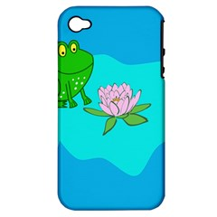 Frog Flower Lilypad Lily Pad Water Apple Iphone 4/4s Hardshell Case (pc+silicone) by Nexatart
