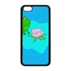 Frog Flower Lilypad Lily Pad Water Apple Iphone 5c Seamless Case (black) by Nexatart