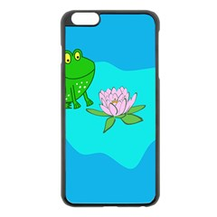 Frog Flower Lilypad Lily Pad Water Apple Iphone 6 Plus/6s Plus Black Enamel Case