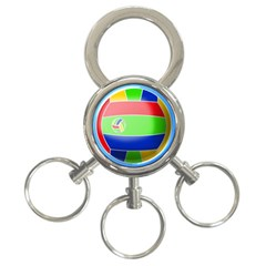 Balloon Volleyball Ball Sport 3 Ring Key Chains by Nexatart