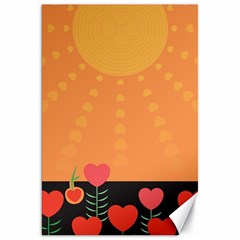 Love Heart Valentine Sun Flowers Canvas 20  X 30