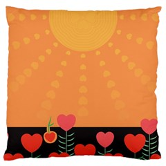 Love Heart Valentine Sun Flowers Large Cushion Case (one Side)