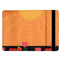 Love Heart Valentine Sun Flowers Samsung Galaxy Tab Pro 12 2  Flip Case by Nexatart