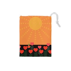 Love Heart Valentine Sun Flowers Drawstring Pouches (small)  by Nexatart