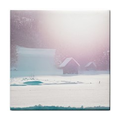 Winter Day Pink Mood Cottages Tile Coasters