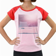 Winter Day Pink Mood Cottages Women s Cap Sleeve T Shirt