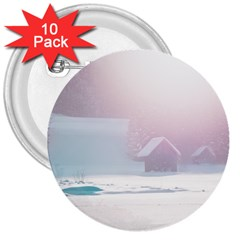 Winter Day Pink Mood Cottages 3  Buttons (10 Pack)  by Nexatart