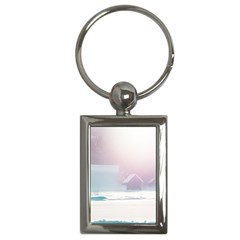 Winter Day Pink Mood Cottages Key Chains (rectangle)