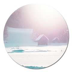 Winter Day Pink Mood Cottages Magnet 5  (round)