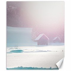 Winter Day Pink Mood Cottages Canvas 20  X 24   by Nexatart