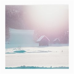 Winter Day Pink Mood Cottages Medium Glasses Cloth by Nexatart