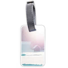 Winter Day Pink Mood Cottages Luggage Tags (one Side)  by Nexatart