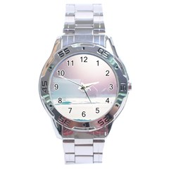 Winter Day Pink Mood Cottages Stainless Steel Analogue Watch by Nexatart