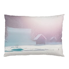 Winter Day Pink Mood Cottages Pillow Case (two Sides)