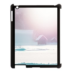 Winter Day Pink Mood Cottages Apple Ipad 3/4 Case (black) by Nexatart