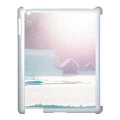 Winter Day Pink Mood Cottages Apple Ipad 3/4 Case (white) by Nexatart