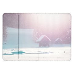 Winter Day Pink Mood Cottages Samsung Galaxy Tab 8 9  P7300 Flip Case by Nexatart