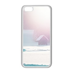 Winter Day Pink Mood Cottages Apple Iphone 5c Seamless Case (white) by Nexatart
