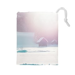 Winter Day Pink Mood Cottages Drawstring Pouches (large)