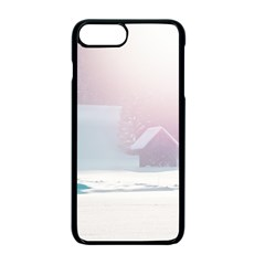 Winter Day Pink Mood Cottages Apple Iphone 7 Plus Seamless Case (black)