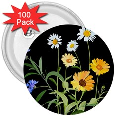 Flowers Of The Field 3  Buttons (100 Pack)