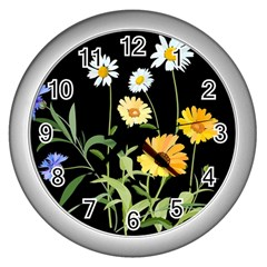 Flowers Of The Field Wall Clocks (silver)  by Nexatart