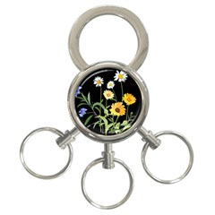 Flowers Of The Field 3 Ring Key Chains by Nexatart