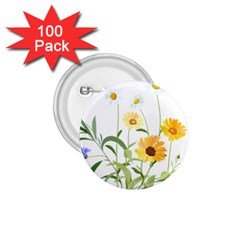 Flowers Flower Of The Field 1 75  Buttons (100 Pack)