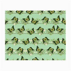 Green Butterflies Small Glasses Cloth (2-side) by linceazul