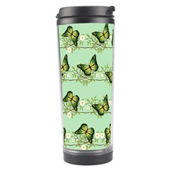 Green Butterflies Travel Tumbler by linceazul
