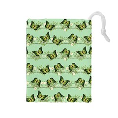 Green Butterflies Drawstring Pouches (large)  by linceazul