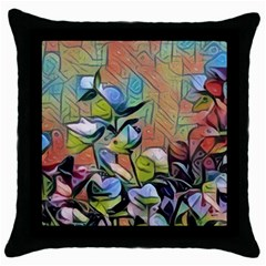 Spring Flowers Magic Cube Throw Pillow Case (black)