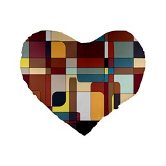 Patchwork Standard 16  Premium Flano Heart Shape Cushions by digitaldivadesigns
