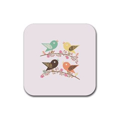 Four Birds Rubber Square Coaster (4 Pack)  by linceazul