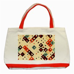 Squares In Retro Colors         Classic Tote Bag (red) by LalyLauraFLM