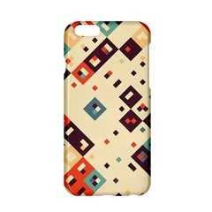 Squares In Retro Colors   Apple Iphone 6/6s Black Enamel Case by LalyLauraFLM