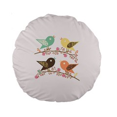 Four Birds Standard 15  Premium Round Cushions by linceazul