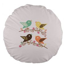 Four Birds Large 18  Premium Round Cushions by linceazul
