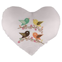 Four Birds Large 19  Premium Flano Heart Shape Cushions by linceazul