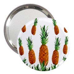 Pineapple Print Polygonal Pattern 3  Handbag Mirrors by Nexatart