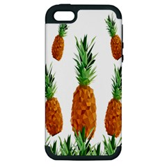 Pineapple Print Polygonal Pattern Apple Iphone 5 Hardshell Case (pc+silicone) by Nexatart