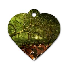 Red Deer Deer Roe Deer Antler Dog Tag Heart (one Side)