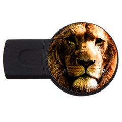 Lion  Usb Flash Drive Round (4 Gb) by Valentinaart